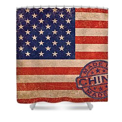 American Flag Made In China Shower Curtain by Tony Rubino