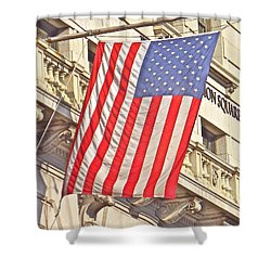 Shower Curtain featuring the photograph American Flag N.y.c 1 by Joan Reese