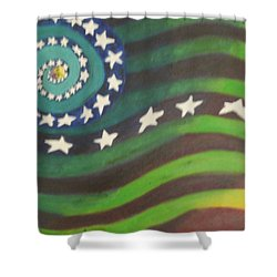 Shower Curtain featuring the painting American Flag Reprise by Thomasina Durkay