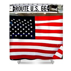 American Flag Route 66 Shower Curtain by Dany Lison