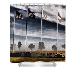 American Flag Still Standing Shower Curtain by Luther   Fine Art