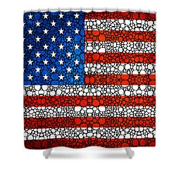 American Flag - Usa Stone Rock'd Art United States Of America Shower Curtain by Sharon Cummings