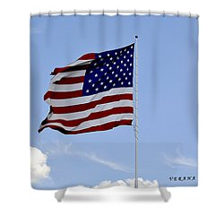 Shower Curtain featuring the photograph American Flag by Verana Stark
