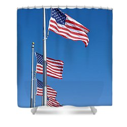 American Flag Waving In The Wind Shower Curtain