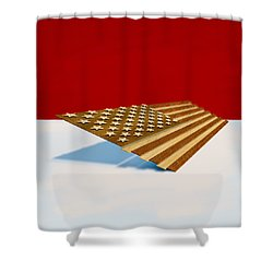 American Flag Wood Shower Curtain