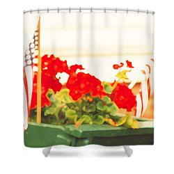 American Flags And Geraniums In A Wheelbarrow In Maine, One Shower Curtain