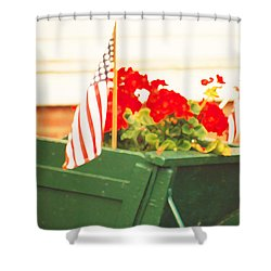 American Flags And Geraniums In A Wheelbarrow In Maine, Two Shower Curtain