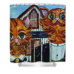 American Gothic Cats - A Parody Shower Curtain