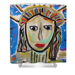 Shower Curtain featuring the painting American Lady by Mary Carol Williams