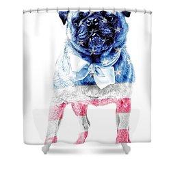 American Pug Shower Curtain by Edward Fielding