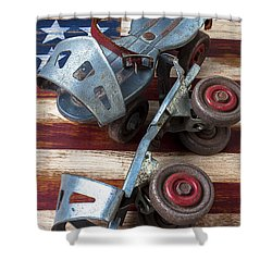 American Roller Skates Shower Curtain by Garry Gay