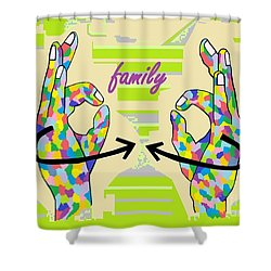 American Sign Language Family                                                    Shower Curtain