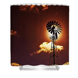 American Windmill Shower Curtain by Marco Oliveira