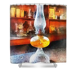 Americana - Hurricane Lamp In General Store Shower Curtain by Susan Savad