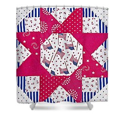 Americana Quilt Block Design Art Prints Shower Curtain