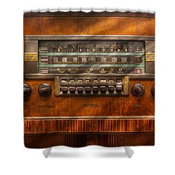 Americana - Radio - Remember What Radio Was Like Shower Curtain by Mike Savad
