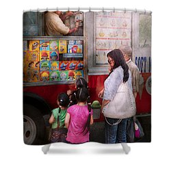 Americana - Vendor - Serving Chocolate Ice Cream Shower Curtain by Mike Savad