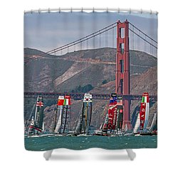 Shower Curtain featuring the photograph Americas Cup Catamarans At The Golden Gate by Kate Brown