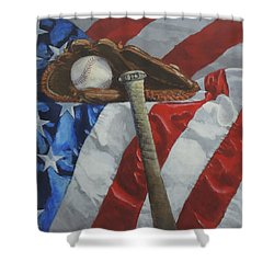 America's Game - Art By Bill Tomsa Shower Curtain