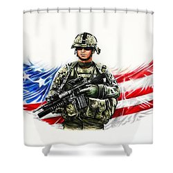 Americas Guardian Angel Shower Curtain by Andrew Read