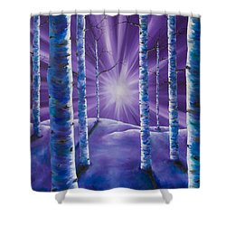 Shower Curtain featuring the painting Amethyst Winter by Melinda Cummings