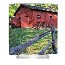 Shower Curtain featuring the photograph Amish Barn Along A Fenceline by Gordon Elwell