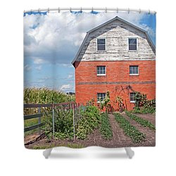Amish Barn And Garden Shower Curtain by David Arment