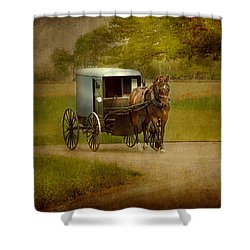 Shower Curtain featuring the photograph Amish Buggy Ride by Dyle   Warren