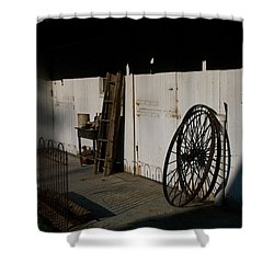 Amish Buggy Wheel Shower Curtain