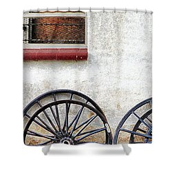 Amish Buggy Wheels Shower Curtain