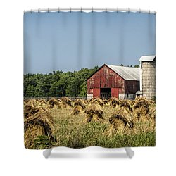 Amish Country Wheat Stacks And Barn Shower Curtain by Kathy Clark