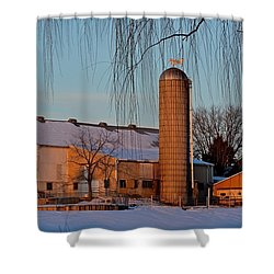 Amish Farm At Turquoise Dusk Shower Curtain
