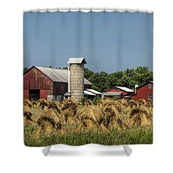 Amish Farm Wheat Stack Harvest Shower Curtain by Kathy Clark