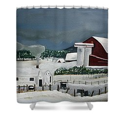 Shower Curtain featuring the painting Amish Farm - Winter - Michigan by Jan Dappen