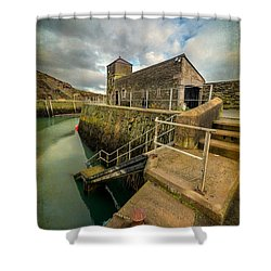 Amlwch Port Lighthouse V2 Shower Curtain by Adrian Evans