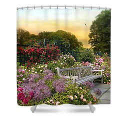 Among The Roses Shower Curtain by Jessica Jenney