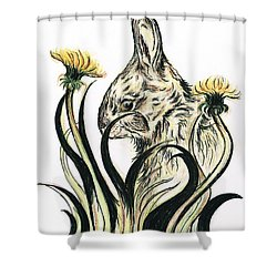Rabbit- Amongst The Dandelions Shower Curtain