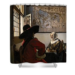 Amorous Couple Shower Curtain by Jan Vermeer