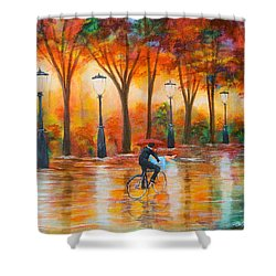 Shower Curtain featuring the painting Amorous Rain by Chris Fraser