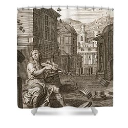 Amphion Builds The Walls Of Thebes Shower Curtain by Bernard Picart