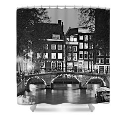 Shower Curtain featuring the photograph Amsterdam Bridge At Night / Amsterdam by Barry O Carroll
