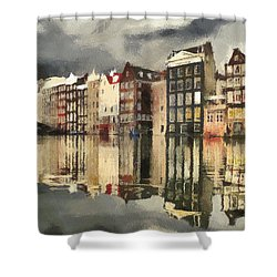 Amsterdam Cloudy Grey Day Shower Curtain