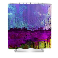 Amsterdam Watercolor Skyline Shower Curtain by Naxart Studio
