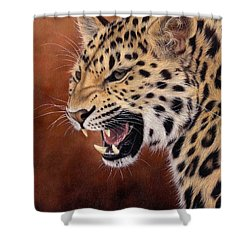 Amur Leopard Painting Shower Curtain by Rachel Stribbling
