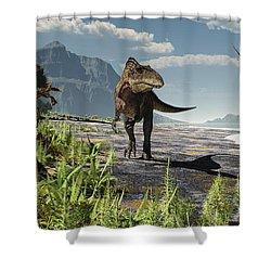 An Acrocanthosaurus Roams An Early Shower Curtain by Arthur Dorety