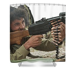 An Afghan Local Police Officer Fires Shower Curtain by Stocktrek Images