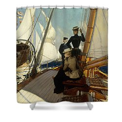 An Afternoon At Sea  Shower Curtain by Albert Lynch