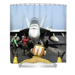 An Aircraft Director Signals Shower Curtain by Stocktrek Images
