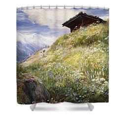 An Alpine Meadow Switzerland Shower Curtain by John  MacWhirter