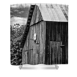 An American Barn Bw Shower Curtain